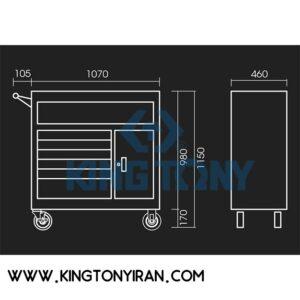 جعبه ابزار چرخدار کارگاهی فوق سنگین خالی 7 کشو 87439-7B